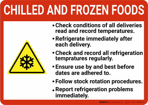 Chilled And Frozen Foods Guidelines with Icon Landscape - Wall Sign