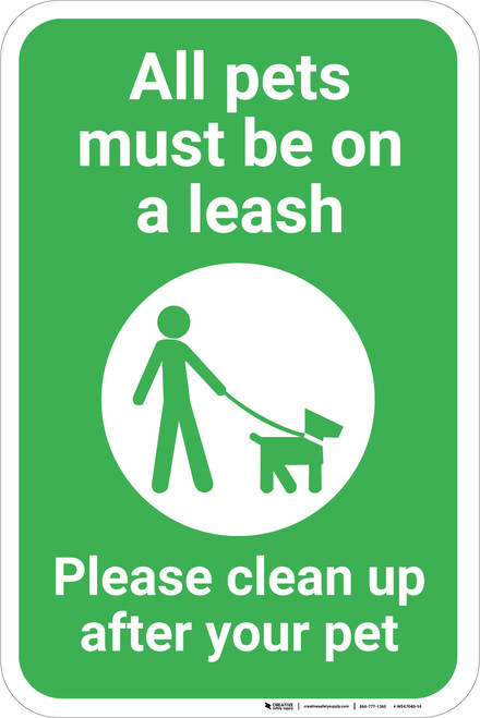All Pets Must Be On A Leash with Icon Portrait - Wall Sign