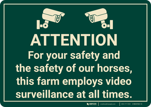 Attention This Farm Employs Video Surveillance with Icons Landscape - Wall Sign