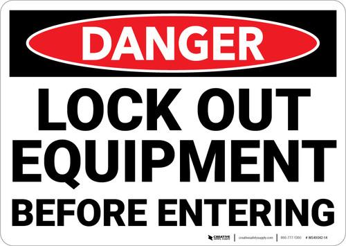 Danger: Lock Out Equipment Before Entering Landscape - Wall Sign
