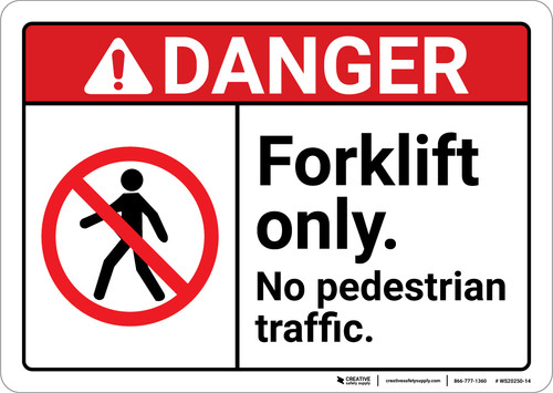 Danger: Forklift Only No Pedestrian Traffic with Icon Landscape ANSI - Wall Sign