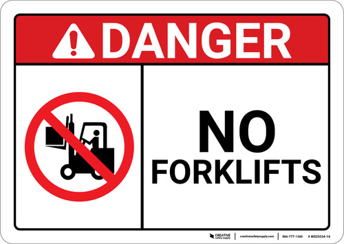 Danger: No Forklifts wish Icon ANSI - Wall Sign