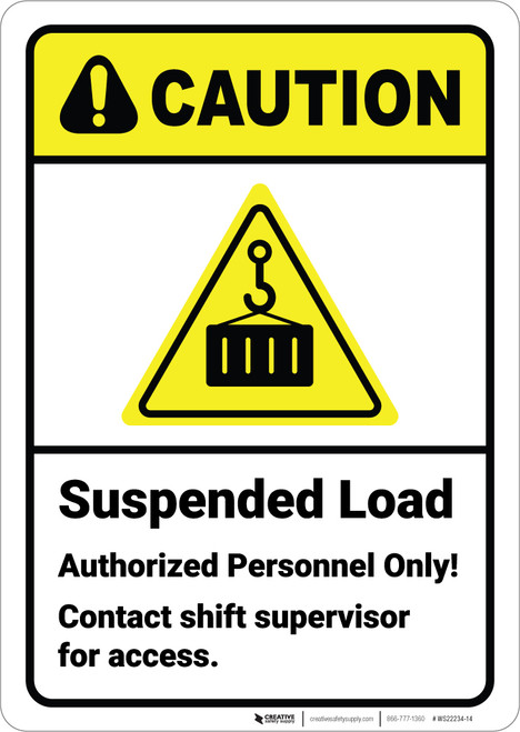 Caution: Suspended Load Authorized Personnel with Icon ANSI - Wall Sign
