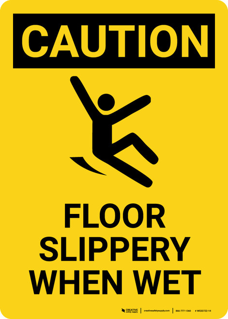 Caution: Floor Slippery When Wet with Icon Portrait - Wall Sign