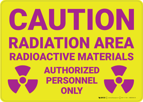 Caution: Radiation Area Radioactive Materials with Icons Landscape - Wall Sign