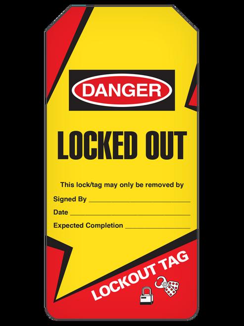 Danger Locked Out  Lightning Bolt Tag Roll