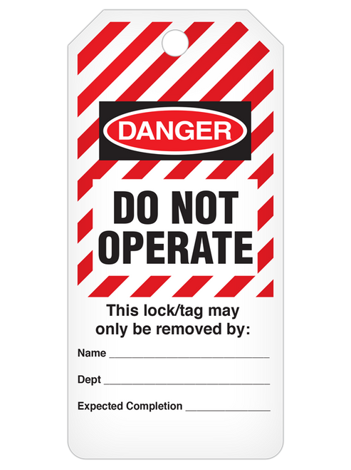 Danger Do Not Operate  Striped Tag Roll