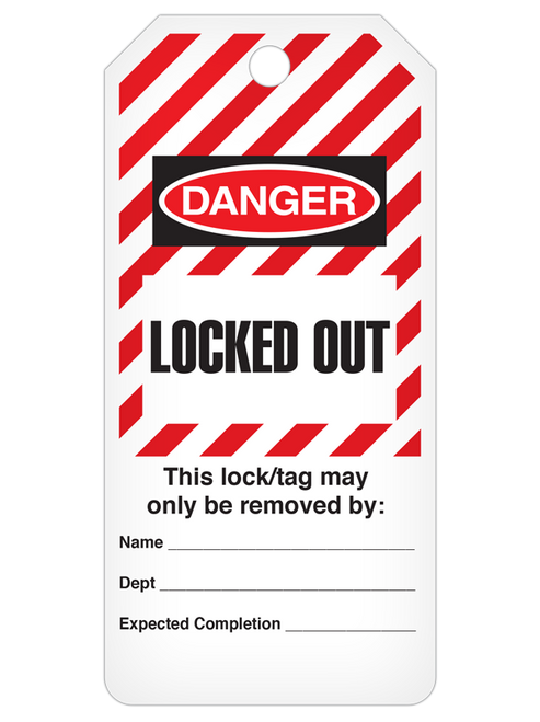 Danger Locked Out  Stiped Tag Roll