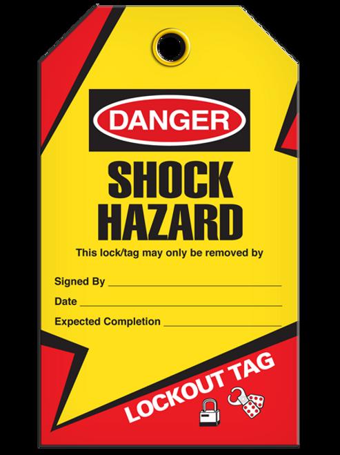 Lockout Shock Hazard Tags