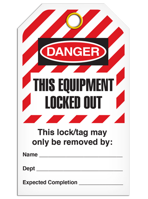 Lockout Equip Locked Out StripedTags
