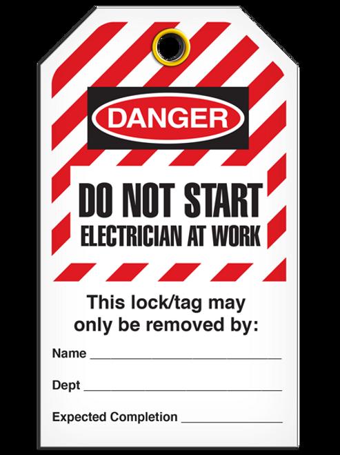 Lockout Do Not Start Electrician At Work - Hazard StripeTags