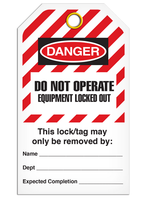 Lockout Dno Equip. Locked Out StripedTags