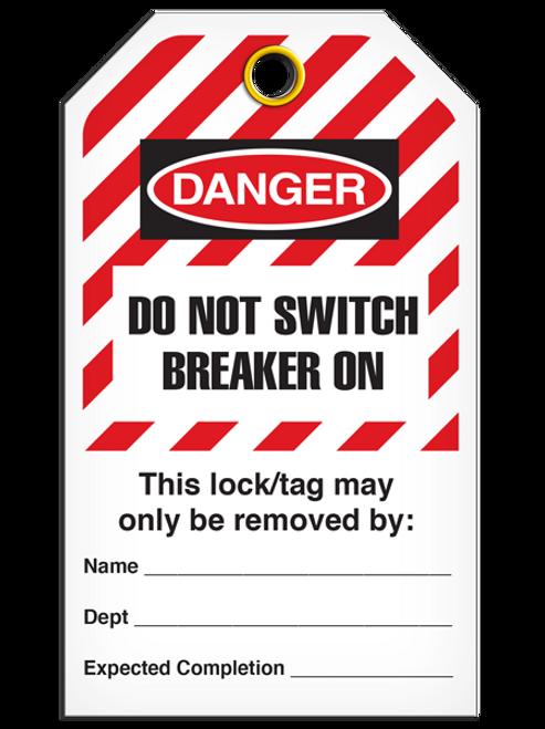 Lockout Do Not Switch Breaker On StripedTags