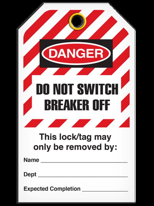 Lockout Do Not Switch Breaker Off StripedTags