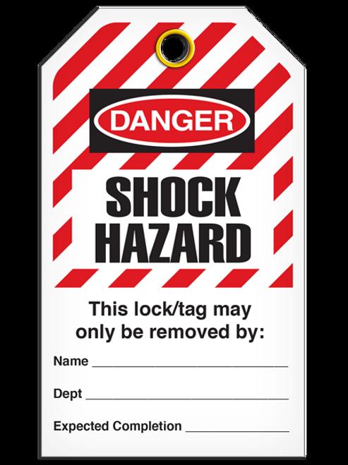Lockout Shock Hazardard StripedTags