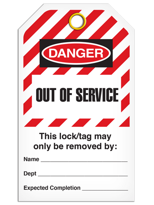 Lockout Out Of Serviceice StripedTags