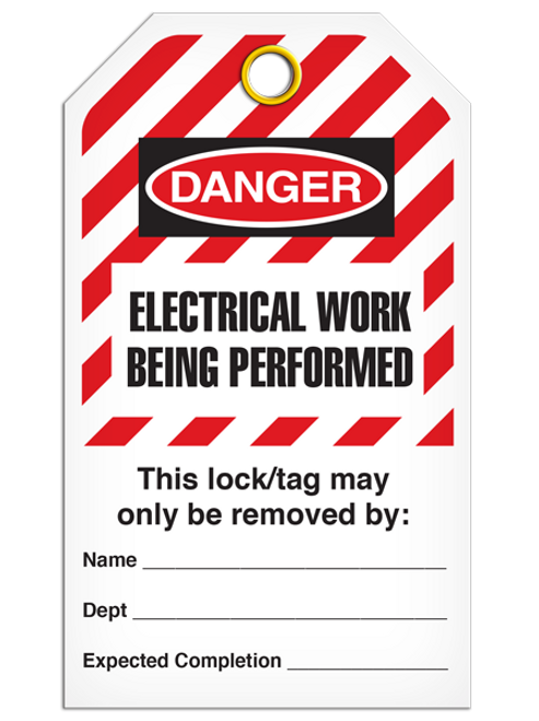 Lockout Electrical Work StripedTags