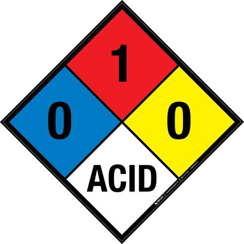 NFPA 704: 0-1-0 ACID - Wall Sign