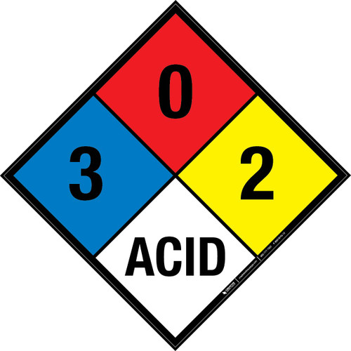 NFPA 704: 3-0-2 ACID - Wall Sign