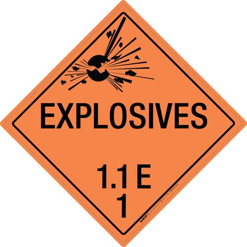 Explosive: Class 1.1 - E - Wall Sign