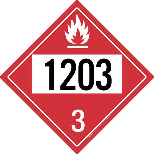 Flammable: Class 3 - UN1203 - Placard Sign