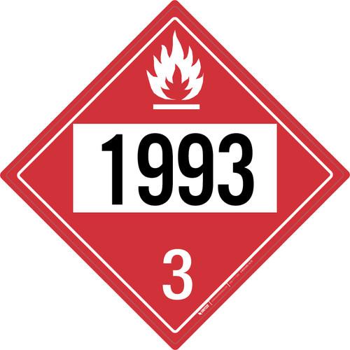 Flammable: Class 3 - UN1993 - Placard Sign