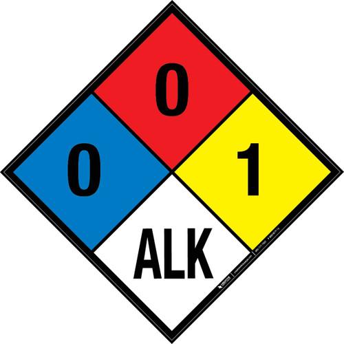 NFPA 704: 0-0-1 ALK - Wall Sign