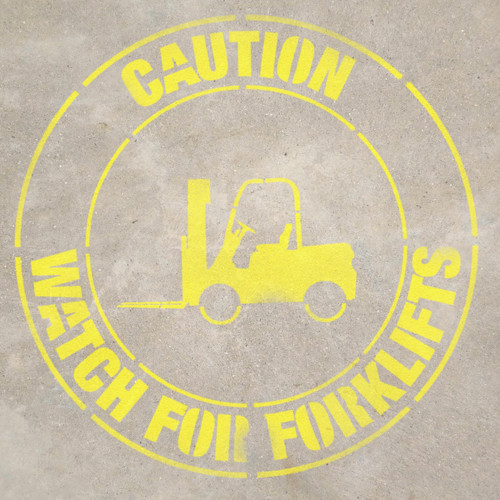 Caution- Watch for Forklifts - Stencil