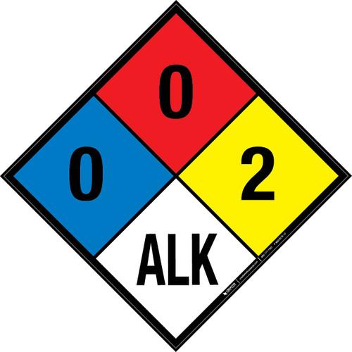 NFPA 704: 0-0-2 ALK - Wall Sign