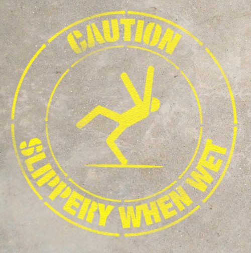 Caution- Slippery When Wet- Stencil