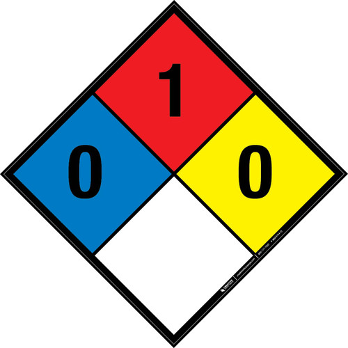 NFPA 704: 0-1-0 - Wall Sign