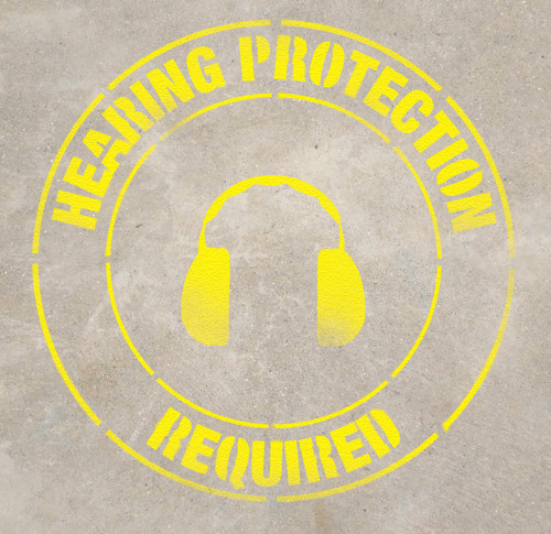 Hearing Protection Required Stencil