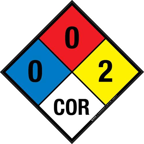 NFPA 704: 0-0-2 COR - Wall Sign