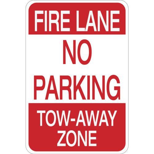 Fire Lane No Parking Tow-Away Zone - Aluminum Sign
