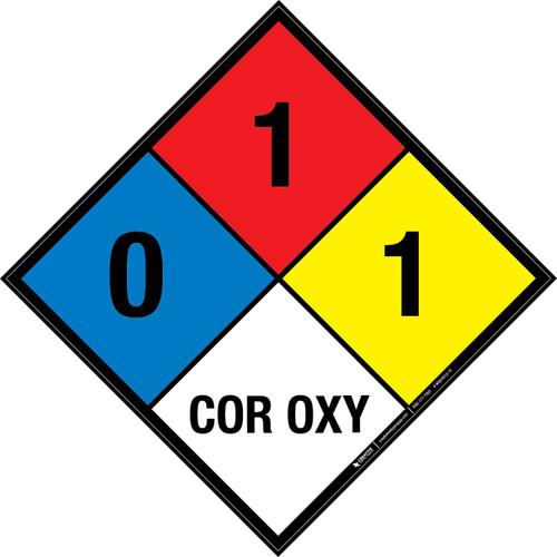 NFPA 704: 0-1-1 COR OXY - Wall Sign