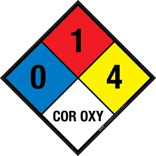 NFPA 704: 0-1-4 COR OXY - Wall Sign