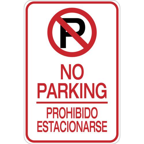 Bilingual No Parking Aluminum Sign