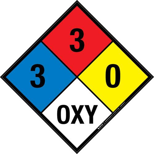 NFPA 704: 3-3-0 OXY - Wall Sign