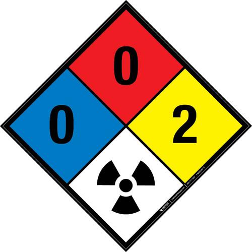 NFPA 704: 0-0-2 RAD - Wall Sign