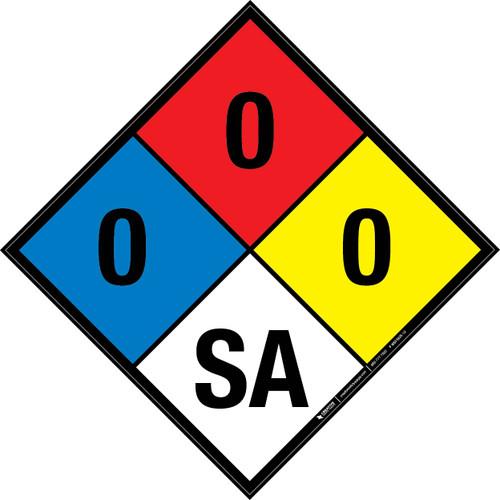 NFPA 704: 0-0-0 SA - Wall Sign