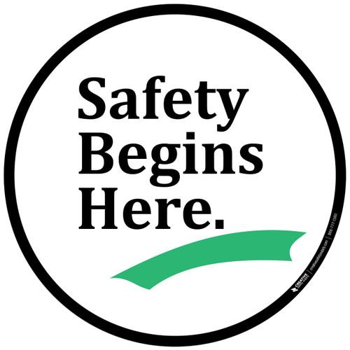 safety begins here floor sign creative safety supply NFPA Label safety begins here floor sign