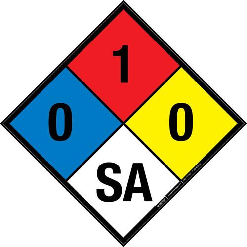 NFPA 704: 0-1-0 SA - Wall Sign