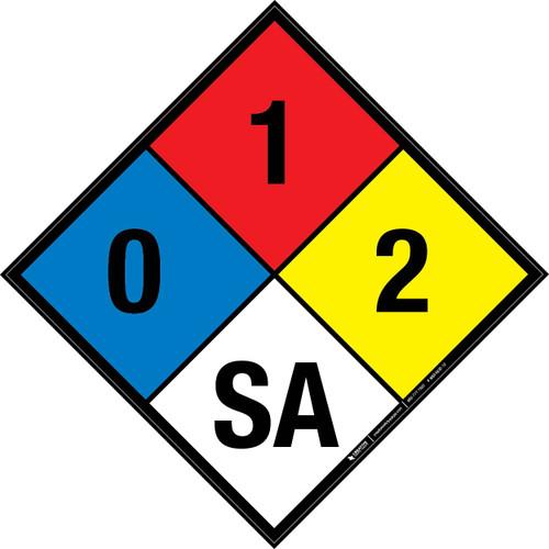 NFPA 704: 0-1-2 SA - Wall Sign