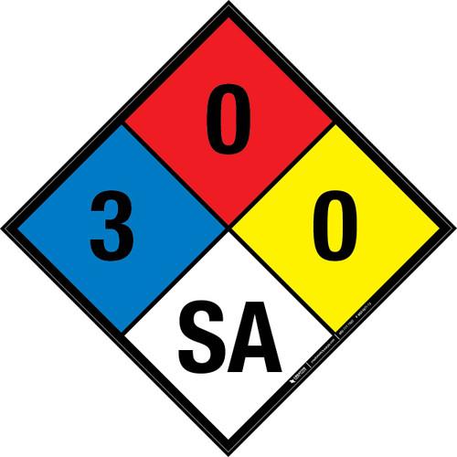 NFPA 704: 3-0-0 SA - Wall Sign