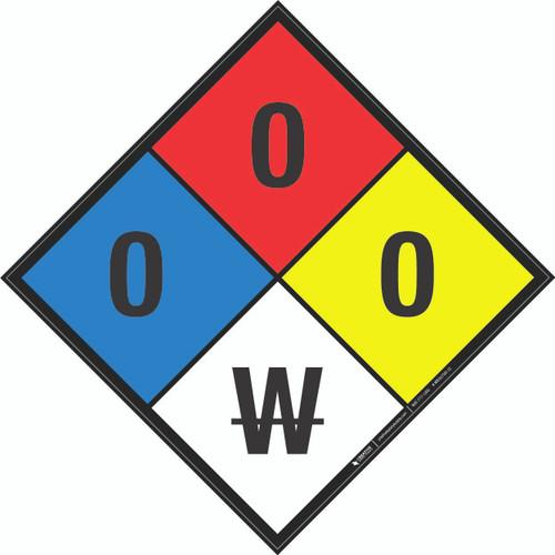 NFPA 704: 0-0-0 W - Wall Sign