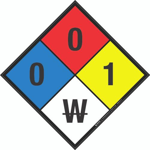 NFPA 704: 0-0-1 W - Wall Sign