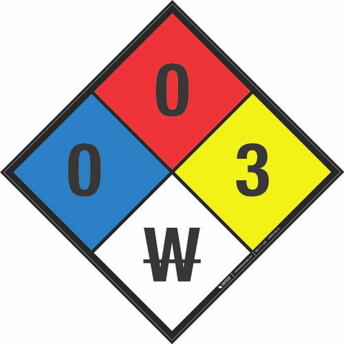 NFPA 704: 0-0-3 W - Wall Sign