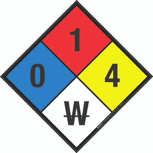 NFPA 704: 0-1-4 W - Wall Sign