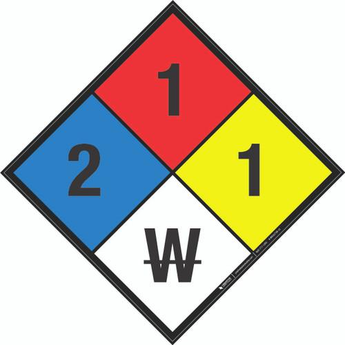 NFPA 704: 2-1-1 W - Wall Sign
