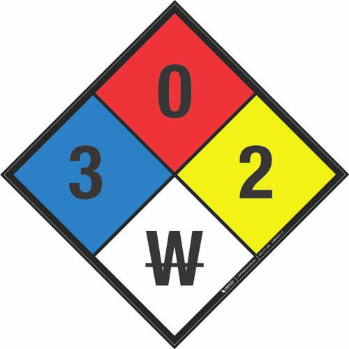 NFPA 704: 3-0-2 W - Wall Sign